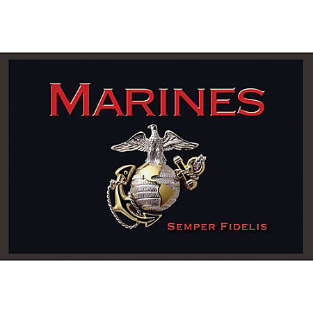 "California Color Products Marines Door Mat, 24"" x 36"", Emblem, Pack Of 3"