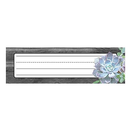 "Schoolgirl Style Desk Nameplates, 9-1/2"" x 2-7/8"", Succulents, Pack Of 36 Nameplates"