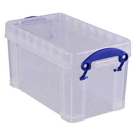 "Really Useful Box® Plastic Storage Box, 2.1 Liters, 9 7/16"" x 5 1/8"" x 5"", Clear"