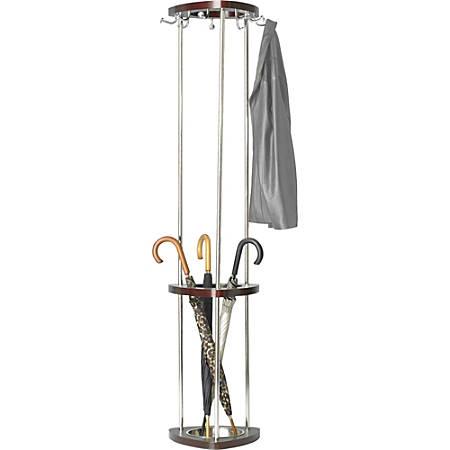 "Safco Wood Costumer With Umbrella Rack, 69""H x 14 1/2""W x 14 1/2""D, 9 Hooks, Mahogany/Silver"