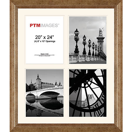 """PTM Images Photo Frame, 4 Opening Collage, 23 1/2""""H x 2""""W x 27 1/2""""D, Champagne"""