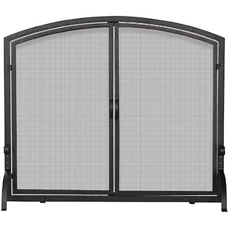 UniFlame Single Panel Black Wrought Iron Screen with Doors Medium