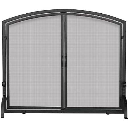 UniFlame Single Panel Black Wrought Iron Screen with Doors Medium