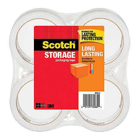 """Scotch® Long Lasting Storage Packaging Tape, 1 7/8"""" x 54.6 Yd., Pack Of 4 Rolls"""