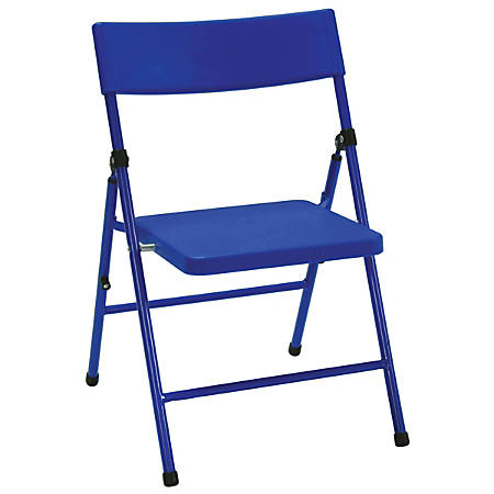 Cosco Kid's Pinch-Free Folding Chairs, Blue/Blue, Pack Of 4