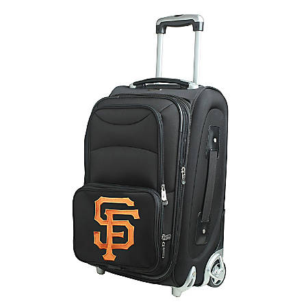 """Denco Nylon Expandable Upright Rolling Carry-On Luggage, 21""""H x 13""""W x 9""""D, San Francisco Giants, Black"""