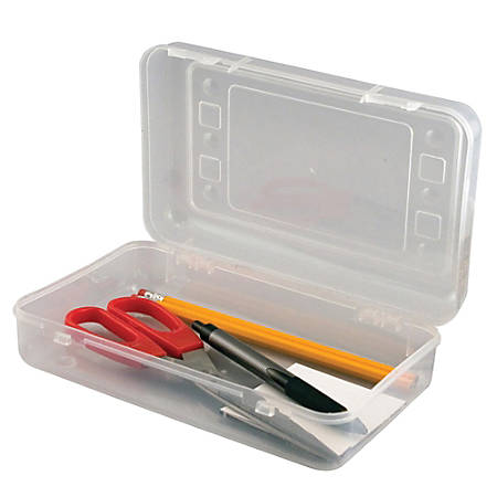 "Innovative Storage Designs Pencil Box, 8 1/2"" x 5 1/2"", Clear"