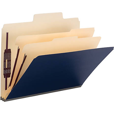 """Smead SuperTab Classification Folders with SafeSHIELD Coated Fastener Technology - Letter - 8 1/2"""" x 11"""" Sheet Size - 2"""" Expansion - 2/5 Tab Cut - Right of Center Tab Location - 2 Divider(s) - Manila - Dark Blue - Recycled - 10 / Box"""