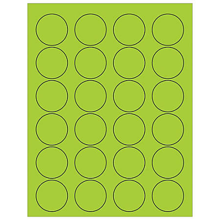 "Office Depot® Brand Labels, LL193GN, Circle, 1 5/8"", Fluorescent Green, Case Of 2,400"