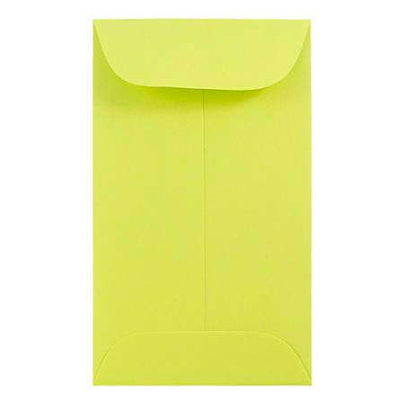 """JAM Paper® #5-1/2 Coin Envelopes, 3-1/8"""" x 5-1/2"""", Lime Green, Pack Of 50 Envelopes"""