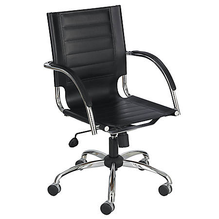 Safco® Flaunt™ Leather Mid-Back Chair, Chrome/Black