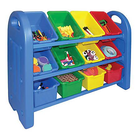 """ECR4Kids® Plastic Storage Organizer, 3-Tier, 18 1/2""""H x 14""""W x 16""""D, Blue"""