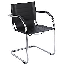 Safco Flaunt Guest Chair ChromeBlack Leather