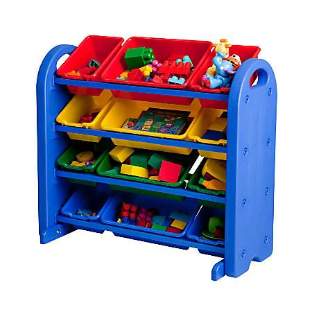 """ECR4Kids® Plastic Storage Organizer, 4-Tier, 18 1/2""""H x 14""""W x 16""""D, Blue"""