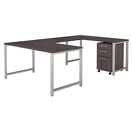 "Bush Business Furniture 400 Series U Shaped Table Desk with 3 Drawer Mobile File Cabinet, 60""W, Storm Gray, Standard Delivery"