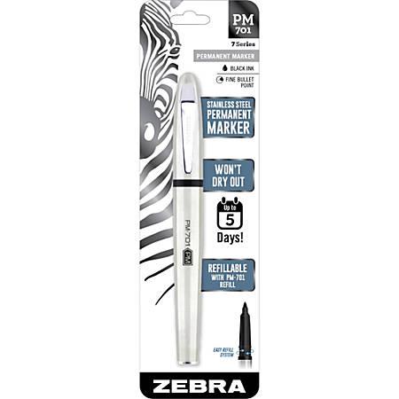 Zebra Pen Fine Bullet Tip PM-701 Permanent Marker - Fine Pen Point - Bullet Marker Point Style - Refillable - Stainless Steel Barrel - 1 Each