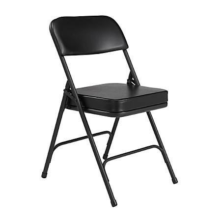 National Public Seating Vinyl-Upholstered Folding Chair, Black, Set Of 2