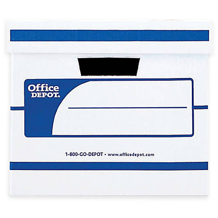 """Office Depot® Brand Medium-Duty Storage Boxes With Lift-Off Lids, Letter/Legal Size, 15"""" x 12"""" x 10"""", 60% Recycled, White/Blue, Pack Of 12"""
