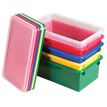 """ECR4Kids® Stack & Store Bins With Lids, 9""""H x 14""""W x 5""""D, Assorted Colors, Pack Of 12"""