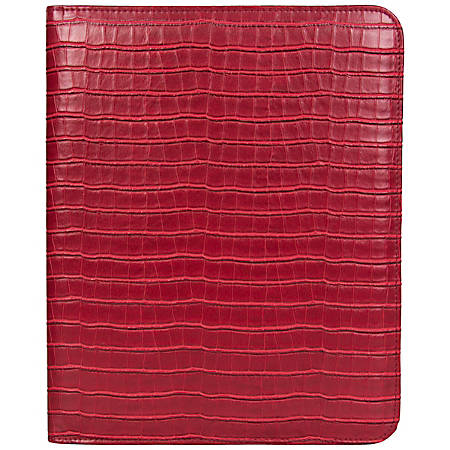 "Kenneth Cole R-Tech Croco Faux Leather Open-Style Bifold Writing Pad, 12""H x 10""W x 1/2""D, Red"