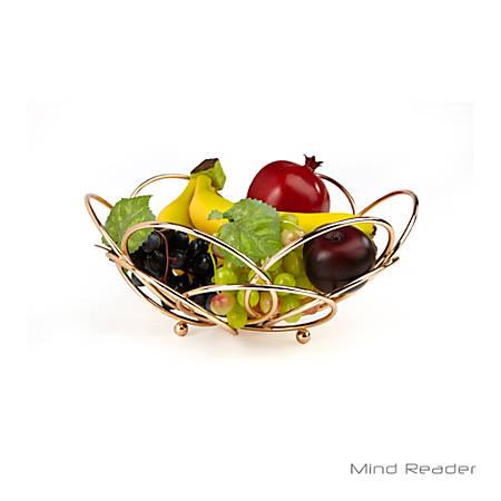 """Mind Reader Modern Rose Fruit And Vegetable Bowl, 11"""", Gold"""