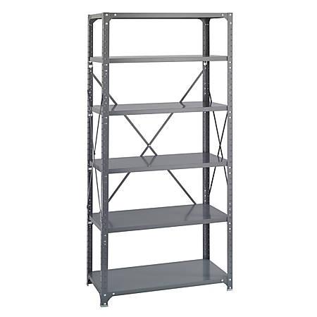 "Safco® Commercial Steel Shelf Pack, 75""H x 36""W x 18""D, 6 Shelves, Gray"