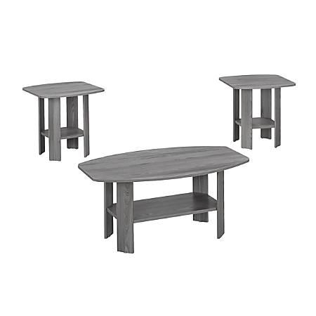 Monarch Specialties 3-Piece Table Set, Rectangle, Gray Sonoma Oak