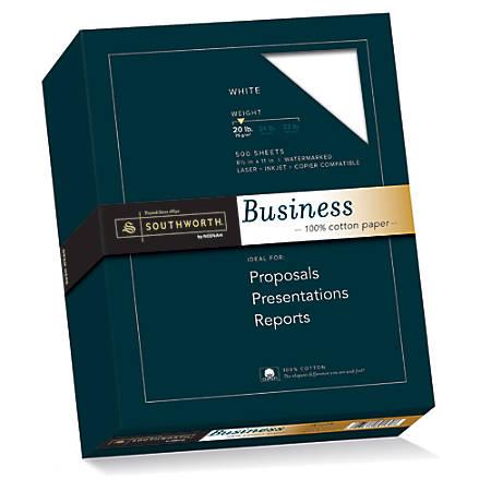 "Southworth® 100% Cotton Business Paper, 8 1/2"" x 11"", 20 Lb, White, Box Of 500"
