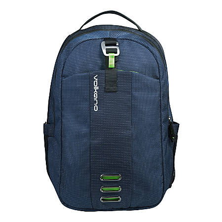 "Volkano Latitude Backpack With 15.6"" Laptop Compartment, Navy/Lime"