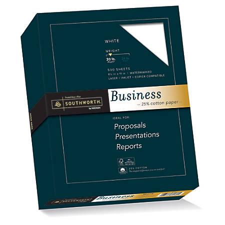 "Southworth® 25% Cotton Business Paper, 8 1/2"" x 11"", 20 Lb, White, Box Of 500"