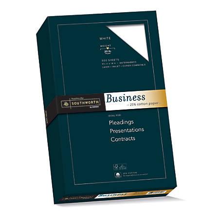 "Southworth® 25% Cotton Business Paper, 8 1/2"" x 14"", 20 Lb, White, Box Of 500"