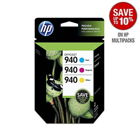 HP 940, Tricolor Original Ink Cartridges (CN065FN), Pack Of 3