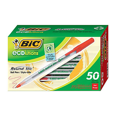BIC® Ecolutions Round Stic Ball Pens, Medium Point, 1.0 mm, 74% Recycled, Translucent Barrel, Red Ink, Pack Of 50 Pens