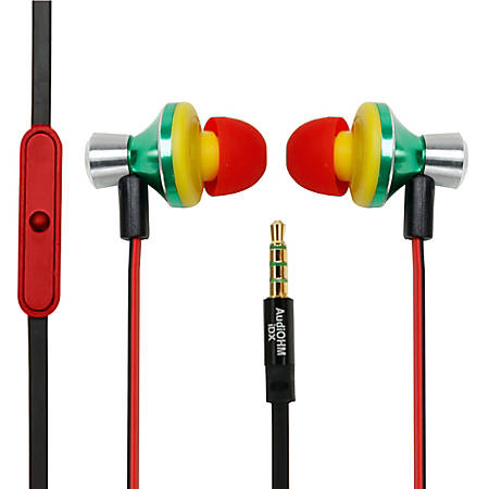 GOgroove AudiOHM iDX Earbud Headphones, Rasta