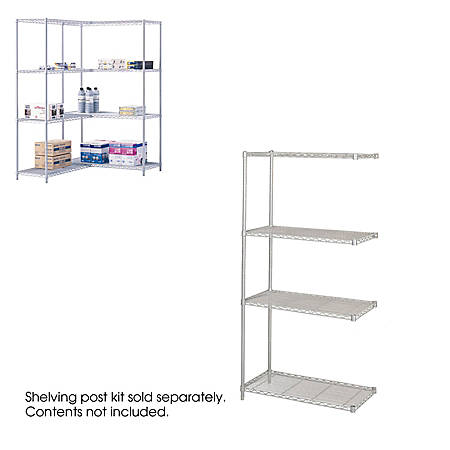 """Safco® Industrial Wire Shelving Add-On Unit, 36""""W x 18""""D, Gray"""