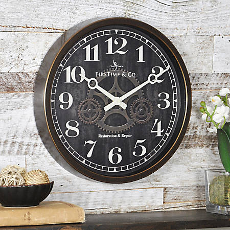 "FirsTime® Industrial Gears Round Wall Clock, 12"", Brown/Gold"