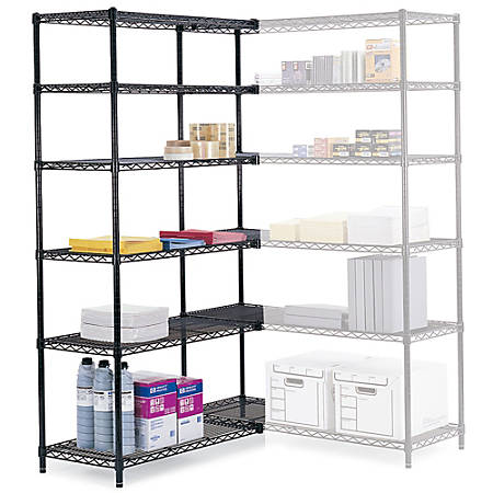"Safco® Industrial Wire Shelving Starter Unit, 48""W x 18""D, Black"
