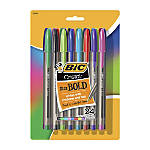 BIC® Cristal Ballpoint Pens, Bold Point, 1.6 mm, Translucent Barrel, Assorted Ink Colors, Pack Of 24 Pens