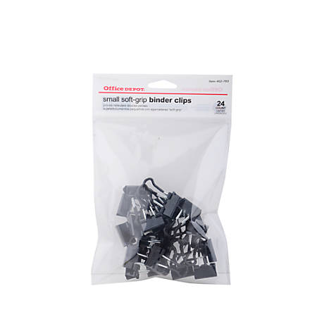 "Office Depot® Brand Binder Clips, Small, 3/4"" Wide, 3/8"" Capacity, Black, Pack Of 24"