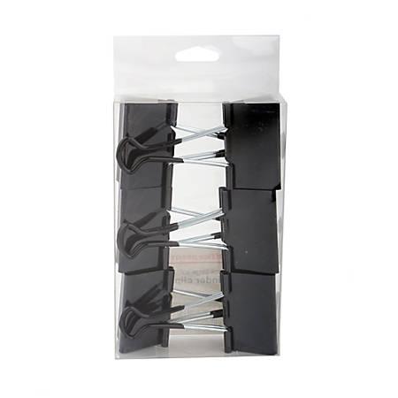 """Office Depot® Brand Binder Clips, Large, 2"""" Wide, Black, Pack Of 6"""
