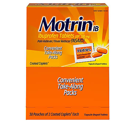 Motrin IB Ibuprofen Tablets, 2 Pain Relievers Per Pack, Box Of 50 Packs