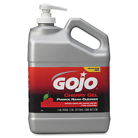 Gojo® Cherry Gel Pumice Hand Cleaner - Cherry Scent - 1 gal (3.8 L) - Pump Bottle Dispenser - Dirt Remover, Grease Remover, Oil Remover - Hand, Skin - Heavy Duty, pH Balanced, Pleasant Scent - 2 / Carton