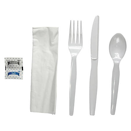 Boardwalk® Heavyweight 6-Piece Cutlery Kits, White, Carton Of 250 Kits