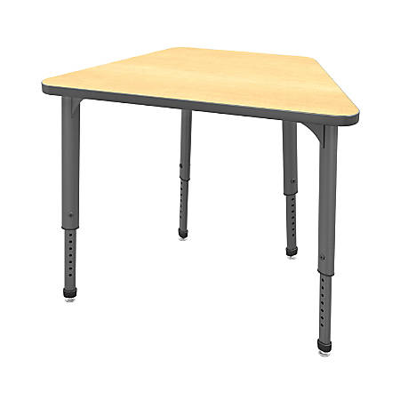 Marco Group Apex™ Series Adjustable Trapezoid Student Desk, Fusion Maple/Gray