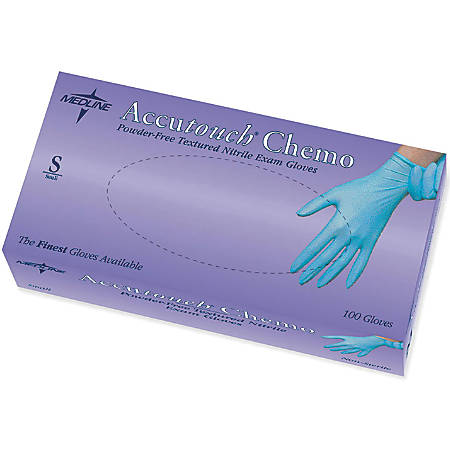 Accutouch Chemo Disposable Powder-Free Nitrile Exam Gloves, Small, Blue, 100 Gloves Per Box, Case Of 10 Boxes