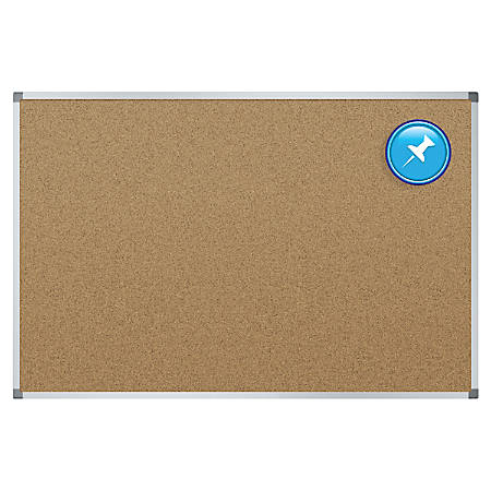 "Quartet® Basic Cork Bulletin Board, 48"" x 36"", Aluminum Frame, Brown/Silverr"