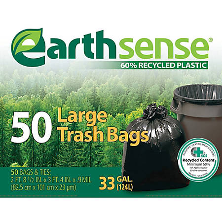 """Webster EarthSense 60% Recycled Trash Bags, 33 Gallons, 0.9 Mil Thick, 32 1/2"""" x 40"""", Box Of 50"""