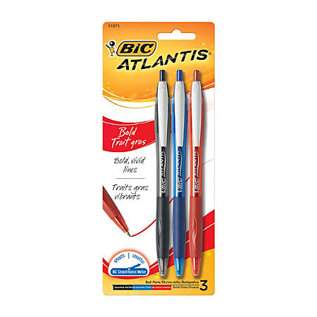 BIC® Atlantis™ Bold Retractable Ballpoint Pens, Medium Point, 1.6 mm, Assorted Colors, Pack Of 3