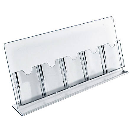 "Azar Displays Slant-Back Brochure Holders, 5 Pocket, 8 1/2""H x 22""W x 4""D, Clear, Pack Of 2 Holders"
