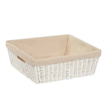 """Honey-Can-Do Paper Rope Shelf Tote With Liner, 13"""" x 15"""" x 5"""", White"""